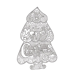 Christmas tree art style with Christmas Hand drawn vector image