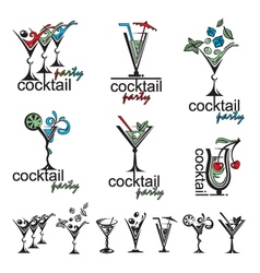 Cocktail glass collection vector