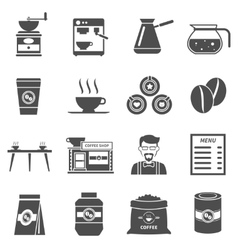 Coffee Shop Black Icons Set vector