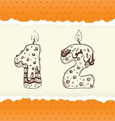 Collection birthday candles 1 and 2 vector