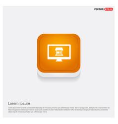 computer icon orange abstract web button vector image