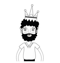 Contour nice man with beard style and crown vector