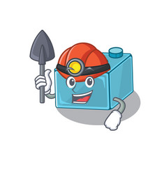 Cool clever miner lego brick toys cartoon vector