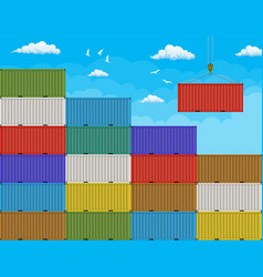 crane lifting cargo container from large stack vector image