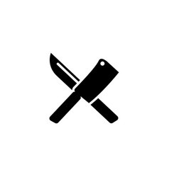 Crossed chef knife butcher tools flat icon vector