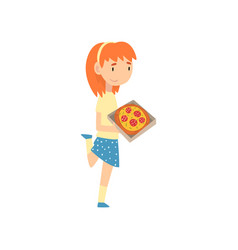 cute girl with pizza child enjoying eating of vector image