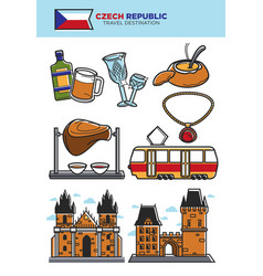 czech republic travel destination banner with vector image