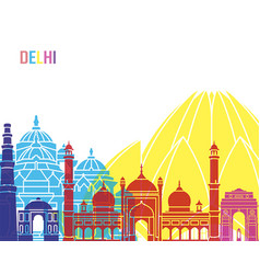 delhi skyline pop vector image