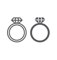 Diamond ring line and glyph icon jewelry and vector