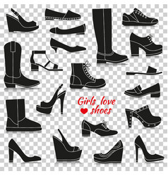 Different women shoes silhouette icons with vector