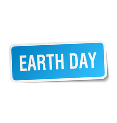 Earth day square sticker on white vector