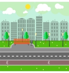 Empty town landscape and road on street vector