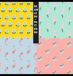 Fancy seamless patterns collection vector image