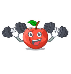 Fitness nectarine with leaf isolated on cartoon vector
