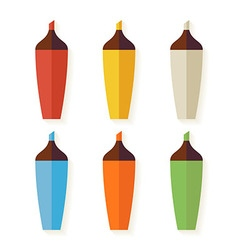 Flat Colorful Markers with Shadow Set isolated vector image