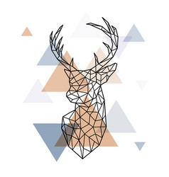 Geometric head of the scandinavian deer polygonal vector