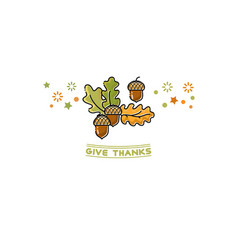 give thanks card cartoon acorn on white vector image