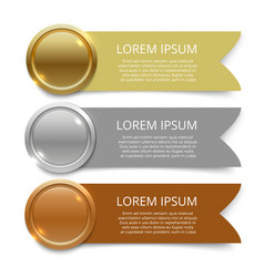 gold silver and bronze medals banners design vector image