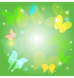 Green background with transparent butterflies vector