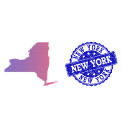 halftone gradient map of new york state and grunge vector image