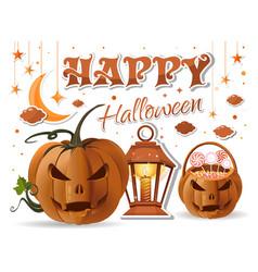 halloween design with halloween basket with sweets vector image