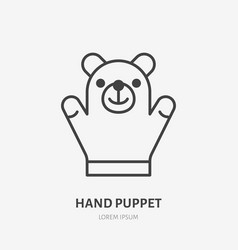 hand puppet line icon baby soft bear toy flat vector image