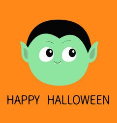Happy halloween count dracula round head cute vector