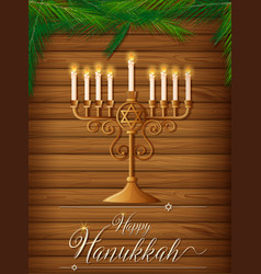 happy hanukkah with candles and pine vector image