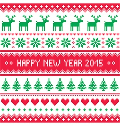 Happy New Year 2015 - Scandinavian winter pattern vector image