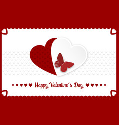 happy valentines day banner with red and white vector image