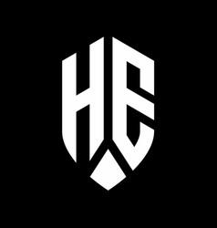 he logo monogram with emblem shield style design vector image
