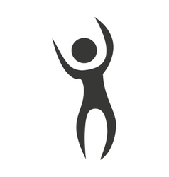 human figure silhouette celebration icon vector image