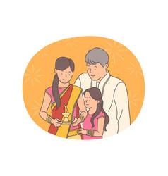 indian deepavali or diwali holiday concept vector image
