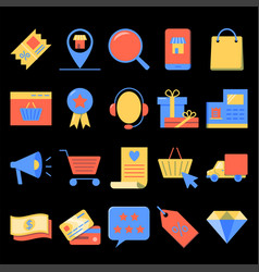 internet commerce icon set in flat style vector image