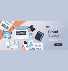 internet connection cloud synchronization tablet vector image