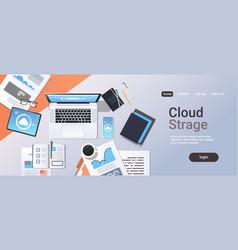 Internet connection cloud synchronization tablet vector