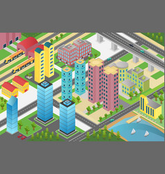 isometric design of city district with residential vector image