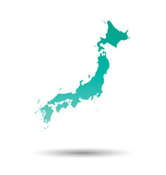 Japan map colorful turquoise on white isolated vector