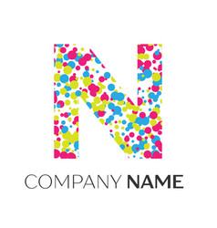 Letter n logo with blue yellow red particles vector
