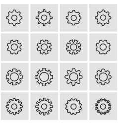 Line gear icon set vector
