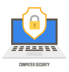 Lock and badge on laptop screen data security vector