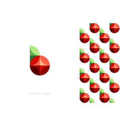 logo mark template or icon of red berry with leaf vector image