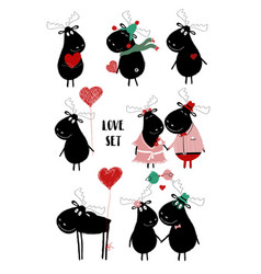 love set with funny moose vector image
