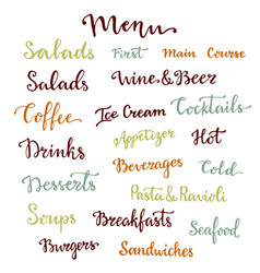 menu lettering set desserts starters drinks vector image