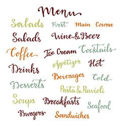 Menu lettering set desserts starters drinks vector