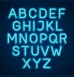 Neon light glowing alphabet vector
