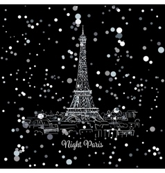 Night Pariscityscape with Eifel Tower Sketch for vector