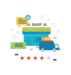 Online shopping reviews and ratings work of store vector