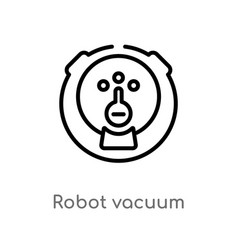 outline robot vacuum icon isolated black simple vector image