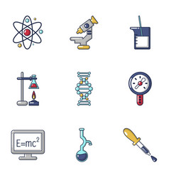 Physical research icons set cartoon style vector